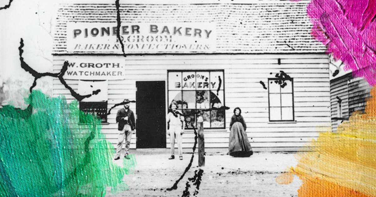 Foto: W. Boag (1872)StateLibQld,Groom's Pioneer Bakery, Griggs Street, Stanthorpe. Bewerkt door MooierMens.app, 02-06-2017.