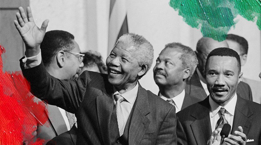 Foto: Keating, Maureen (1994) President of South Africa, Nelson Mandela with members of the Congressional Black Caucus including Representative Kweisi Mfume, at an event at the Library of Congress. Gedownload en bewerkt door MijnDeugden.nl voor Blog Kun jij een rolmodel zijn? op 21-09-2017. https://www.loc.gov/item/2015645189/