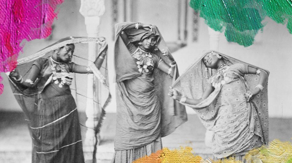 Foto: Royal Netherlands Institute of Southeast Asian and Caribbean Studies (KITLV) (ca. 1865) Danseressen (nautch vrouwen) in India. Gedownload en bewerkt door MijnDeugden.nl voor Deugden atelier op 21-09-2017. https://commons.wikimedia.org/wiki/File:Nautch_dancers_in_India,_ca_1860-1870.jpg