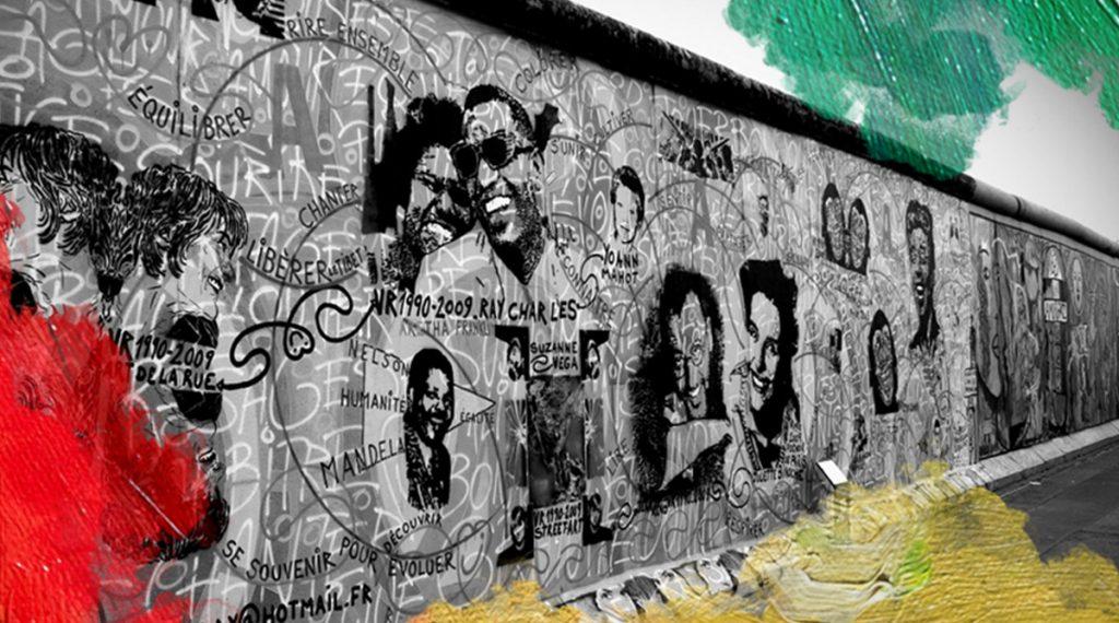 Foto: onbekend (198?) Kunst op Berlijnse muur. Gedownload en bewerkt door MijnDeugden.nl voor Galerij der Deugden op 21-09-2017. https://pixabay.com/nl/berlijn-muur-kunst-duitsland-315478/