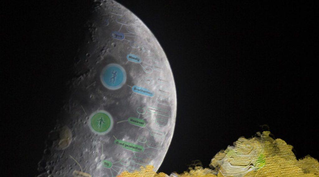 Foto: Combinatie van Theunissen, N (2017) Deugden overzicht in de Mooi Mens Mindmap en Anoniem (201?) Night Space Astronomy Sky Universe Moon Galaxy. Gedownload en bewerkt door MijnDeugden.nl voor Mooi Mens Mindmap op 21-09-2017. https://maxpixel.freegreatpicture.com/Night-Space-Astronomy-Sky-Universe-Moon-Galaxy-2013905