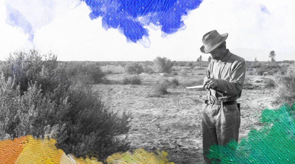 Foto: James, George Wharton (ca. 1900) Carl Eytel, artist, sketching on his pad during his trip with George Wharton James to the Colorado River. Gedownload en bewerkt door MijnDeugden.nl voor de module Schets een deugd op 19-09-2017. https://commons.wikimedia.org/wiki/File%3ACarl_Eytel%2C_artist%2C_sketching_on_his_pad_during_his_trip_with_George_Wharton_James_to_the_Colorado_River%2C_ca.1900_(CHS-4299).jpg