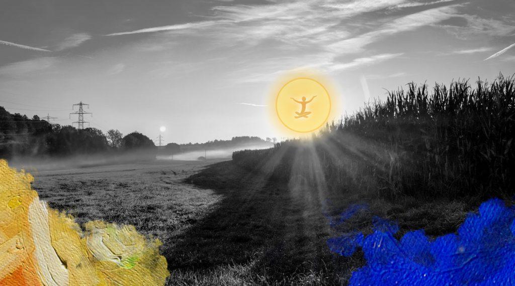 Foto: Blickpixel (2014) Landschap bij zonsopgang. Bewerkt door MooierMens.app 12-01-2018. https://pixabay.com/nl/landschap-zonsopgang-ochtend-mist-503925/