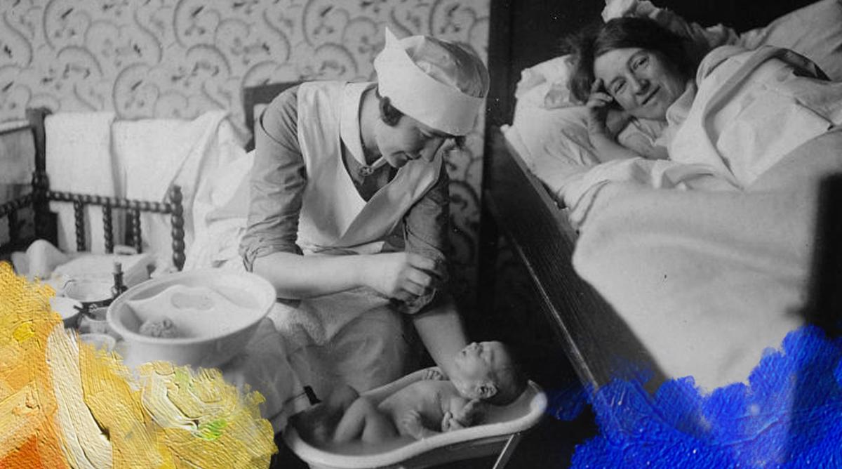 Foto: Collectie Tropenmuseum (1928) Een verpleegster doet een baby in bad bij het kraambed van een vrouw. Gedownload en bewerkt door MooierMens.app op 21-02-2018. https://commons.wikimedia.org/wiki/File:COLLECTIE_TROPENMUSEUM_Een_verpleegster_doet_een_baby_in_bad_bij_het_kraambed_van_een_vrouw_TMnr_60052040.jpg