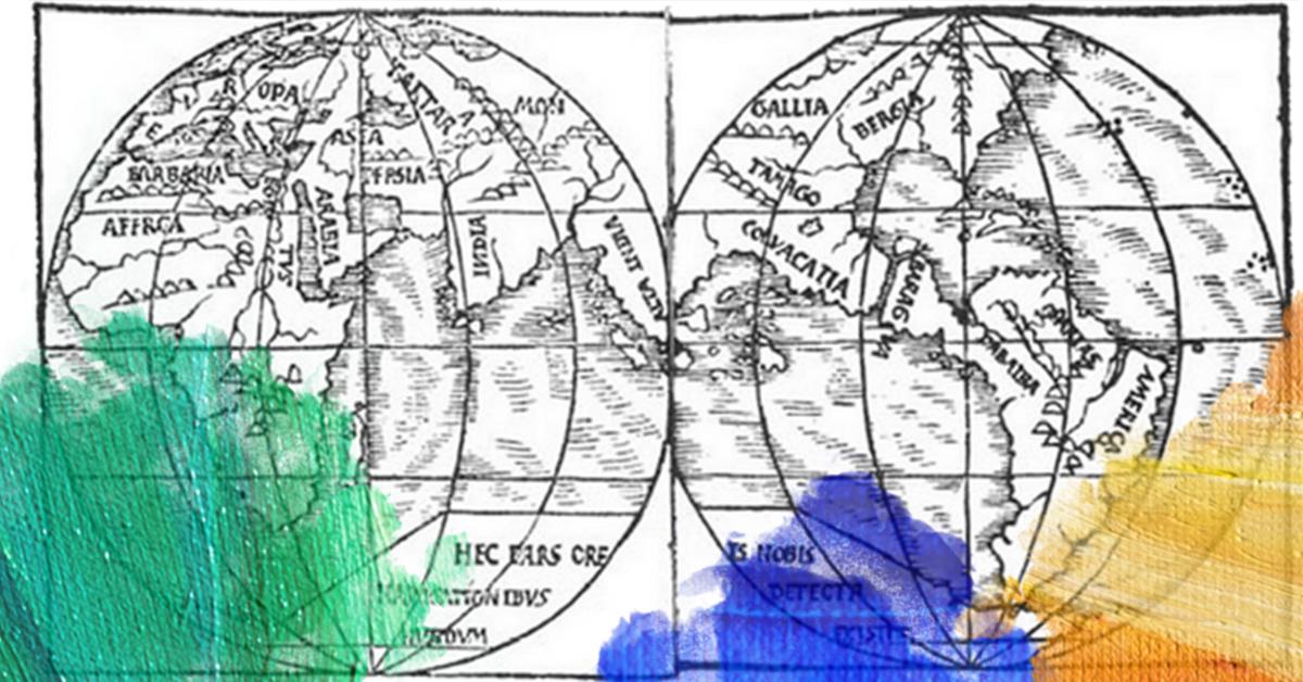 Prent: Monachus (1527) A map of the world. Bewerkt door MooierMens.app 06-07-2017. https://commons.wikimedia.org/wiki/File:Monachus_1527_globe_map_01.png