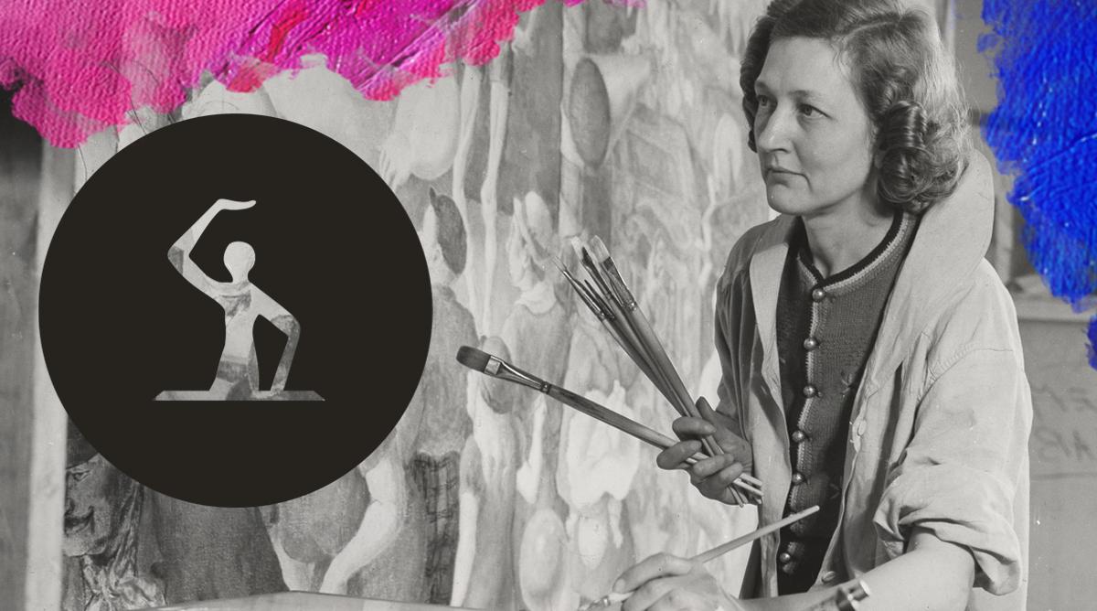 Foto: Sol Horn (1939) Elizabeth Deering working on a mural. Bewerkt door MooierMens.app, 01-11-2018. https://commons.wikimedia.org/wiki/File:Archives_of_American_Art_-_Elizabeth_Deering_-_3089.jpg