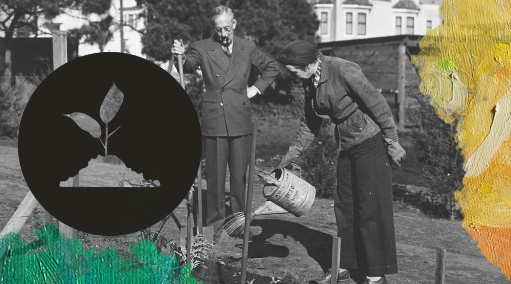 Foto: Ann Rosener (1943) Frequent watering of the Victory Garden is necessary during the early stages of growth. Bewerkt door MooierMens.app, 15-02-2018. https://commons.wikimedia.org/wiki/File:Frequent_watering_of_the_Victory_Garden_is_necessary_during_the_early_stages_of_growth._-_NARA_-_196478.jpg