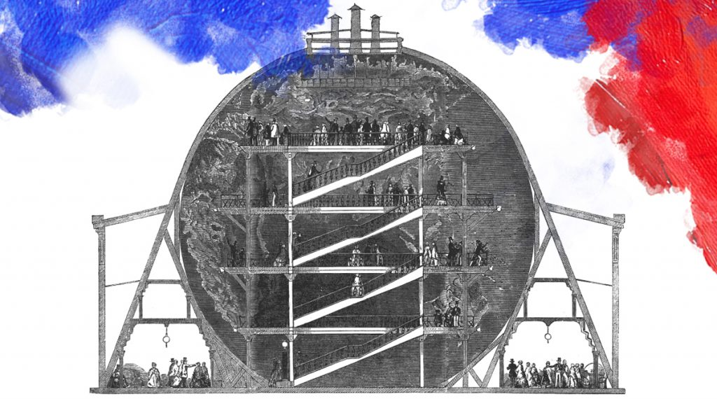 Illustratie: Onbekend (1851) Sectional view of Wyld's Great Globe, which stood in Leicester Square, London 1851–62. https://commons.wikimedia.org/wiki/File:Greatglobe_sectional.png