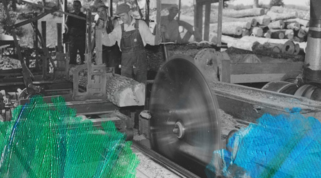 Foto: U.S. National Archives (1958) Sawing Lumber in the Saw Mill at Cloud Oak Flooring Company at Shawnee National Forest (Ill.) Winona, Missouri. Bewerkt door MooierMens.app, 14-02-2019. https://catalog.archives.gov/id/2130825