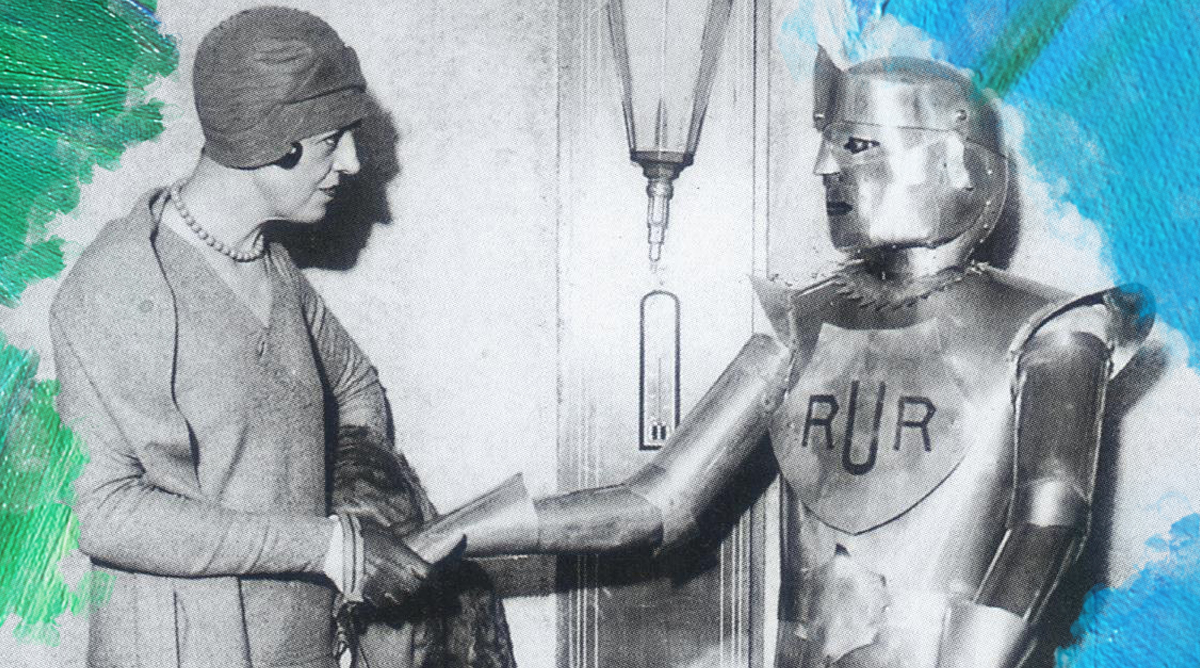 Foto: onbekend (1929) Eric Robot being greeted by Mrs. Jane Houston in the lounge of a New York hotel. Bewerkt door MooierMens.app 21-05-2019. https://cyberneticzoo.com/robots/1928-eric-robot-capt-richards-english/