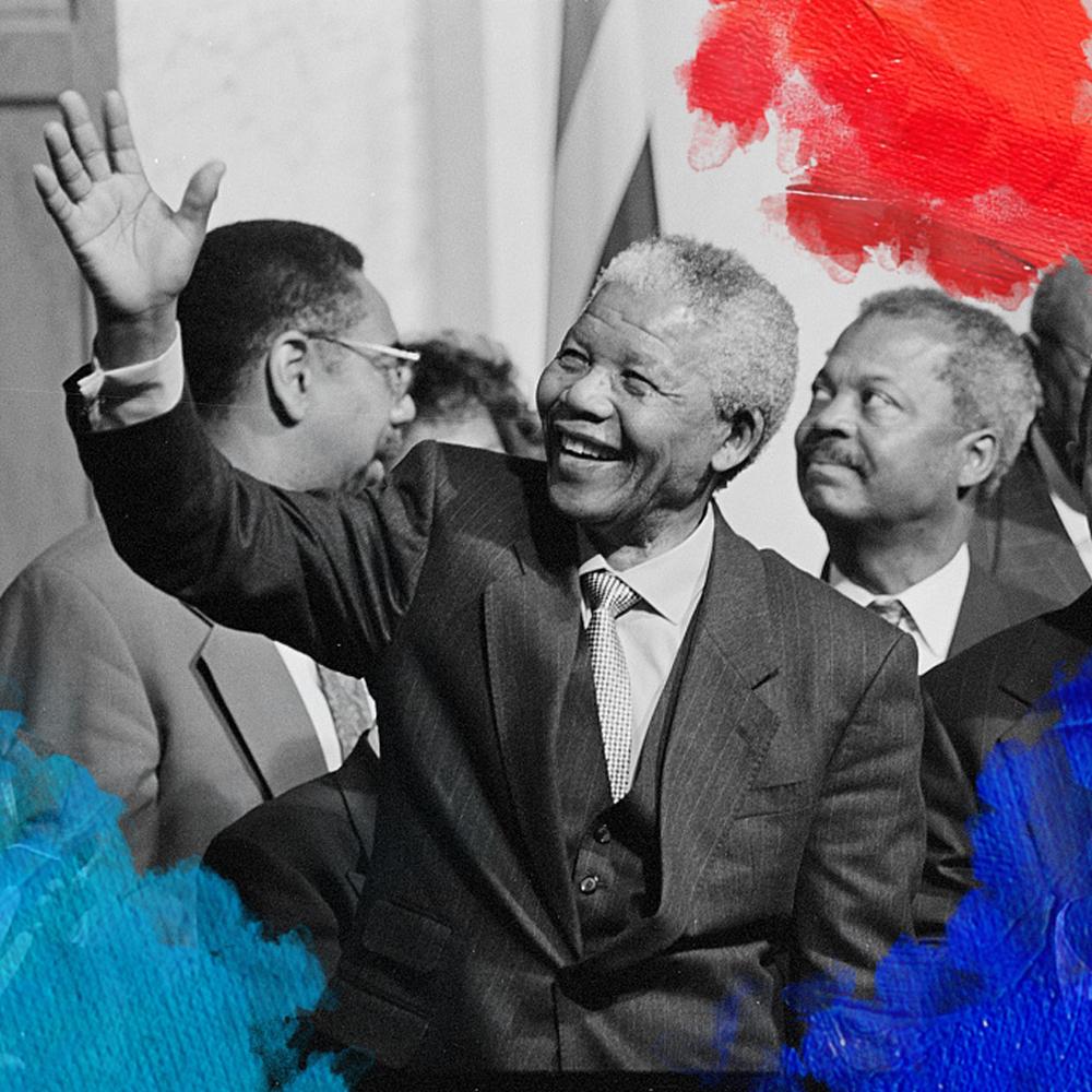 Foto: Keating, Maureen (1994) President of South Africa, Nelson Mandela with members of the Congressional Black Caucus including Representative Kweisi Mfume, at an event at the Library of Congress. Bewerkt door MooierMens.app voor Blog Kun jij een rolmodel zijn? op 21-09-2017. https://www.loc.gov/item/2015645189/