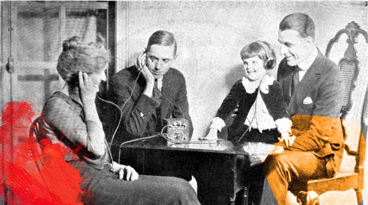 Foto: Alan Douglas (1922) Crystal radio advertisement. Gedownload en bewerkt voor MooierMens.app 18-08-2021 File: File:Crystal_radio_advertisement-colorized.png