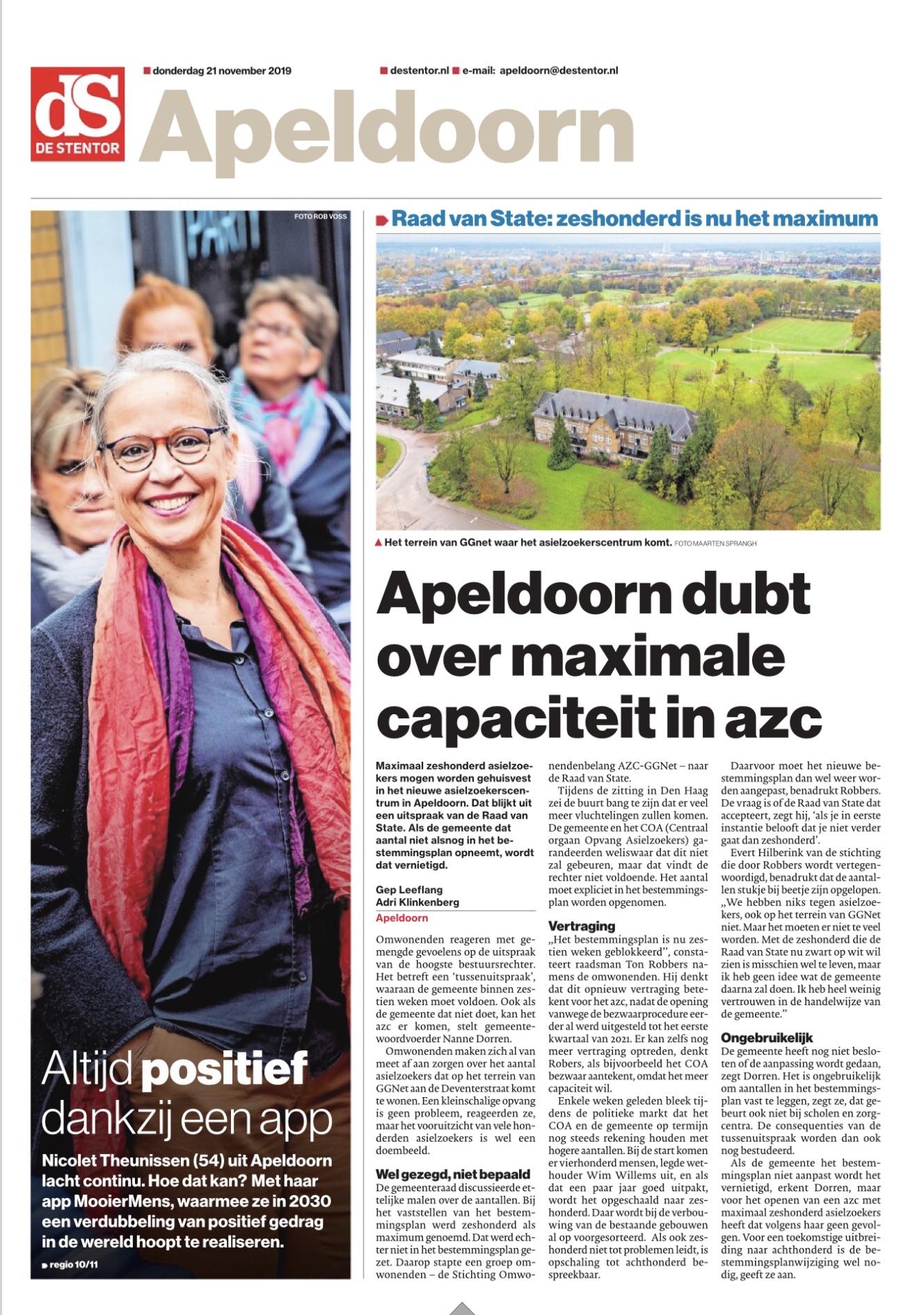 Voorpagina Stentor Apeldoorn katern met aankondiging interview 21-11-2019