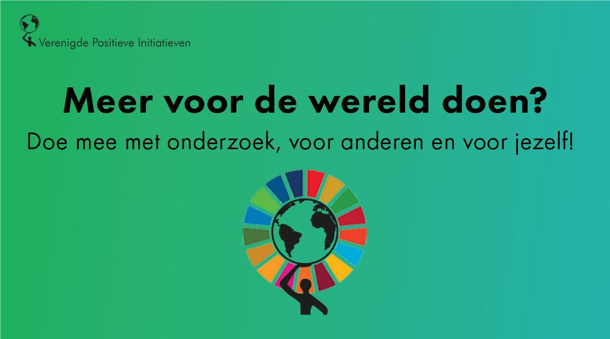 Logo onderzoek 'Positief in actie voor Sustainable Development Goals' van VerenigdePositieveInitiatieven.nl