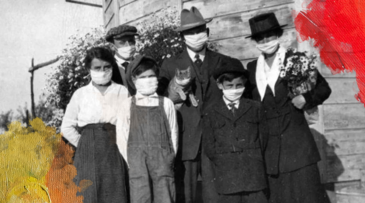 Foto: Onbekend (1918) Family and their cat during the Spanish Flu. Bewerkt door MooierMens.app, 25-11-2020. https://nl.m.wikipedia.org/wiki/Bestand:1918_Spanish_Flu.png